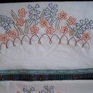 2  pillowcases blue bells orange poppies in the garden