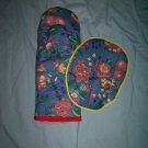 set of 2 handcrafted  oven mitt and hot pad wild flowers