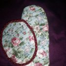 set of 2 handcrafted  oven mitt and hot pad floral wild roses