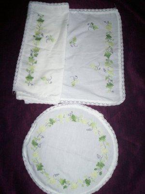 cross stitch ivy dresser scarf and dollie