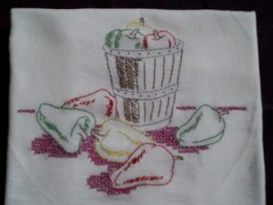 dish towel tea towel embroidered red green yellow bell peppers