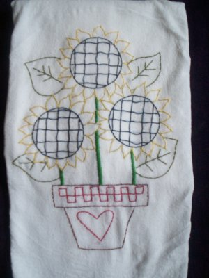 One dish towel tea towel hand embroidered 3 sunflowers in a pot cotton fabric