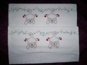 set of 2 handmade pillowcases sock monkeys swinging cotton