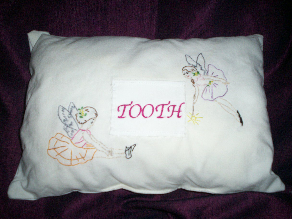 Handcrafted embroidered decorative throw bed pillow tooth fairy pillow
