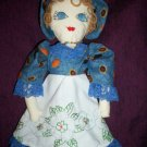 handmade cloth doll embroidered dress 20 inches tall