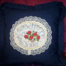 decorative throw pillow dark blue cross stitched gather ye rose buds while ye may
