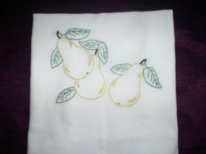 hand embroidered dish towel tea towel pears 30 by 38 inches cotton fabric