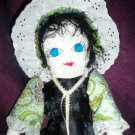 handmade doll black satin flower dress one of a kind doll 20 inches tall