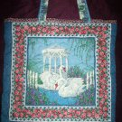 white swans with red roses purple iris tote grocery beach book bag reusable go green
