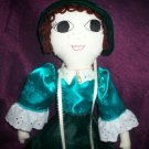 handmade doll  20 inches tall green crush velvet satin shirt