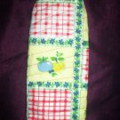 handmade oven mitt plums lemons checker board