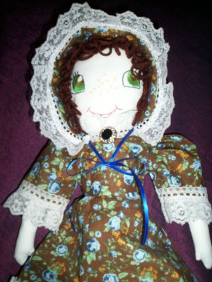 handmade little prairie girl doll blue roses one of a kind doll 20 inches tall handcrafted