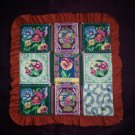 doll quilt handmade pansies pansy fabric 16 inches by 16 inches
