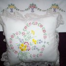 hand embroidered 1 pillowcase with 1 decorative bed pillow wild flowers heart handmade