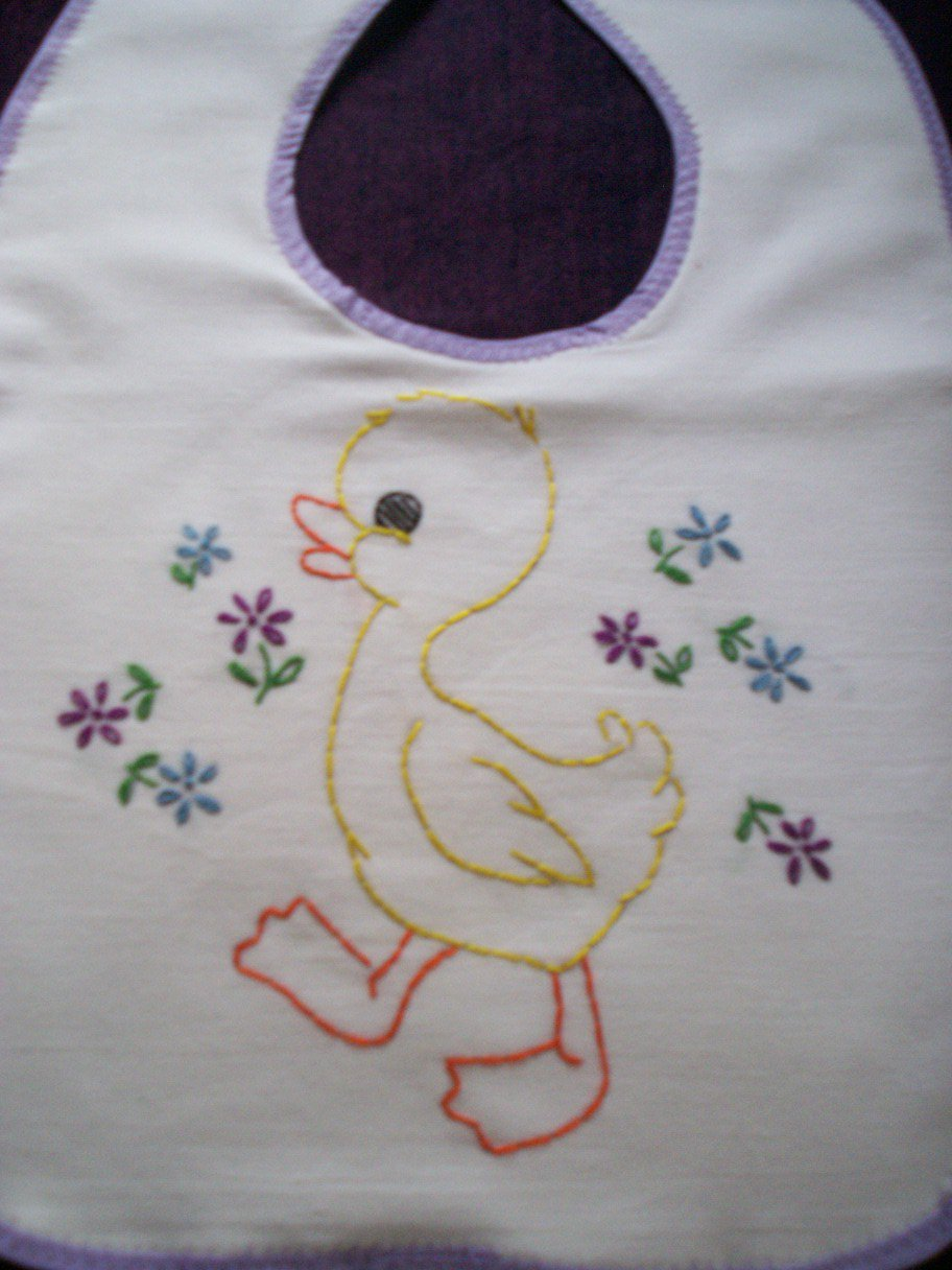 Baby Bib Hand Embroidered Ducky Handmade