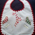 baby bib hand embroidered handmade Christmas santa clause candy canes