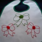 baby bib hand embroidered handmade Christmas bows red green