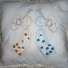 hand embroidered decorative throw bed pillow handmade angels on high rejoicing