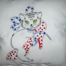 embroidered with bead work decorative throw pillow kitty cat in a red shoe white lace
