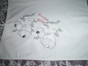 hand embroidered Christmas dollie silver bells all handmade white lace