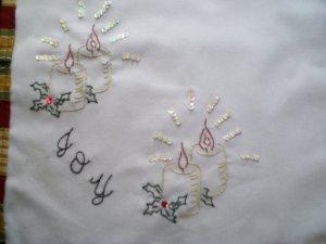 hand embroidered Joy candles Christmas dollie handmade