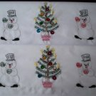 set of 2 pillowcases handmade snowmen and Christmas tree