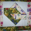 handmade baby lap quilt blanket 9 block belt buckle applique 50 by 50 inches