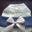 handmade puppy dog coat jacket fleece blue roses size small handcrafted