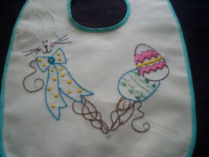 happy Easter baby bib hand embroidered bunny rabbit with Easter eggs handmade