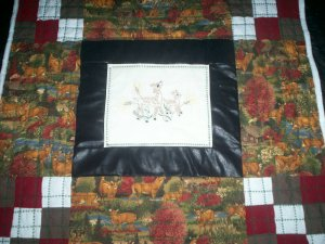 quilt embroidered deer 38 inches by 36 inches handmade