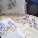 1 pillowcase 1 pillow 1 dresser scarf spring blue birds handmade