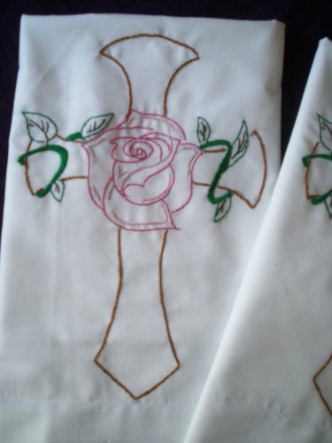 set of 2 king pillowcases cross and pink rose hand embroidered
