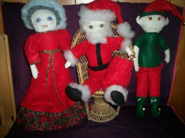 Santa wife and elf set of 3 Christmas dolls handcrafted