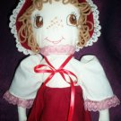 handmade girl doll red fleece dress 20 inches tall