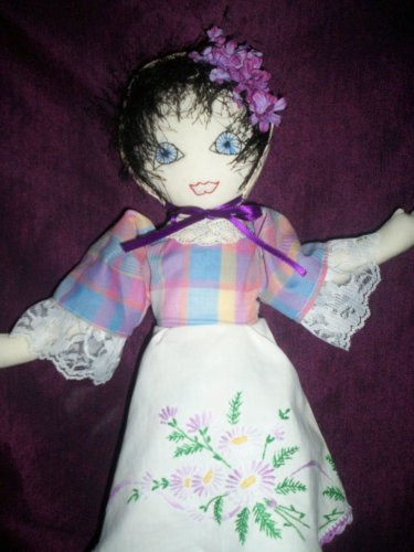 baby doll summer daisies hand embroidered dress 20 inches tall