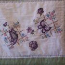 crib lap quilt hand embroidered butterflies 43 inches by 46 inches handmade
