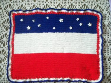 baby quilt hand crochet handmade red white blue born on 4th July 32 inches by 25 inches