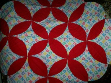 baby quilt handmade red with alphabets fleece less than traditional quilt  36 inches by 36 inches