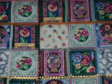 quilt  pansies daisies dragon flies fabric handmade 44 inches by 34 inches
