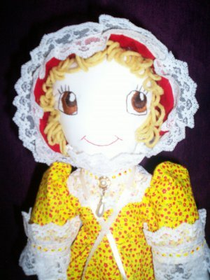 handmade prairie doll tiny red roses on yellow 20 inches tall