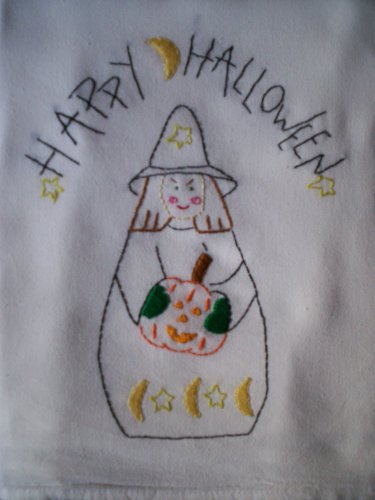 happy halloween witch dish towel tea towel hand embroidered