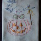 halloween trick or treat ghost dish towel tea towel hand embroidered