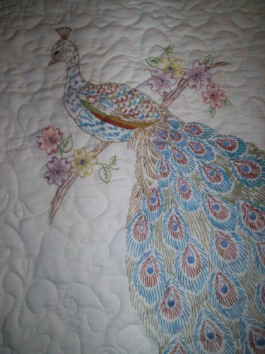 embroidered peacock lap baby quilt handmade size 39 inches x 39 inches handcrafted