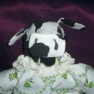 black and white country cow  doll 11 inches tall handmade