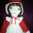 handmade cloth doll brown hair green eyes 21 inches tall