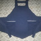 bib apron dark blue gold pin strip handmade