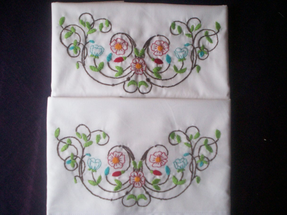 Vine of red and blue flowers pillowcases hand embroidered