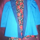little girl rose handmade dress with reversable blue jacket