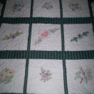 baby quilt in the garden roses lilies poppies size 50 inches x 44 inches