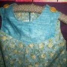 little girl maxi jumper dress light blue tan roses size 2 handmade